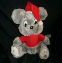 "12"" VINTAGE 1980 DAKIN GREY CHRISTMAS MOUSE SANTA HAT STUFFED ANIMAL PLU... - $32.73"