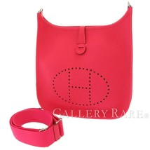 HERMES Evelyne 3PM Taurillon Clemence Rose Extreme Shoulder Bag #C Authentic - $3,525.65