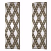 "Pair 72"" Mirror Wall Art Mid Century Modern Regency Geometric Panels New - $584.09"