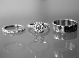 14k White GP Women's Bridal Wedding Set Men's Engagement Band Diamond Trio Set - $159.60