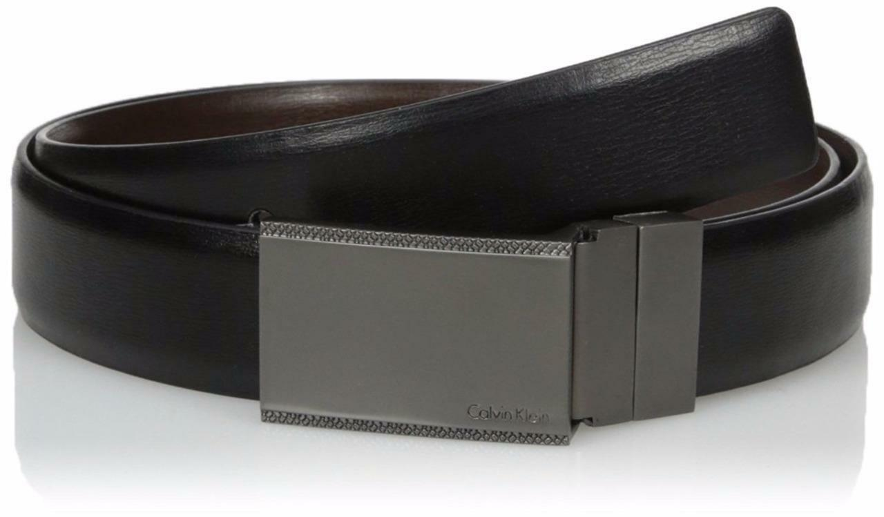 Calvin Klein Men's Reversible Plaque Buckle 30mm Genuine Leather Belt 7539196