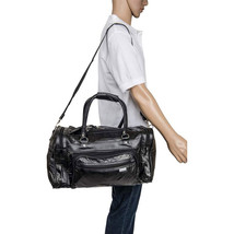 """17"""" Black Leather Overnight Tote Travel  Gym Sport Bag Duffle Carry On L... - $28.98"""