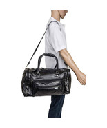 "17"" Black Leather Overnight Tote Travel  Gym Sport Bag Duffle Carry On L... - $28.98"