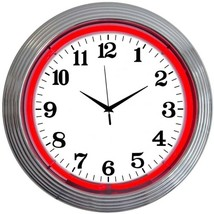 "Chrome Red Standard Neon Clock 15""x15"" - $59.00"