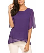 Zeagoo Womens Chiffon Blouses 3/4 Sleeve Tops Scoop Neck Layered Elegant... - $39.57+