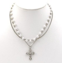 Girls Fancy Triple Strands Faux Pearl Crystal Cross Silver Chains Necklace - $19.50