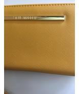 STEVE MADDEN WALLET Mustard Soft Textured Gold Zip Around Wrist-let Ship... - $30.39