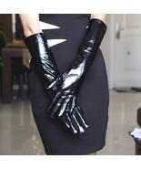 30cm-70cm Women's Genuine Black patent leather Long Evening Gloves Opera... - $23.74+