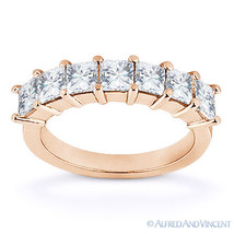 Forever Brilliant Square Cut Moissanite 14k Rose Gold 7-Stone Ring Weddi... - €596,65 EUR+