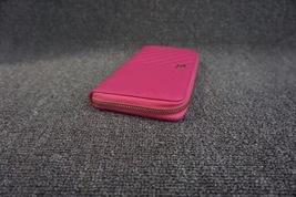 100% AUTH CHANEL Chevron Fuchsia Pink Lambskin Zip Around Wallet Clutch Bag image 4