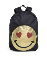 Backpack Emoji Heart Girls Black Gold Glitter Zipper School Book Bag Fas... - €17,26 EUR