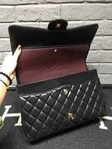 100% Authentic Chanel Black Quilted Lambskin Maxi Classic Double Flap Bag GHW image 6