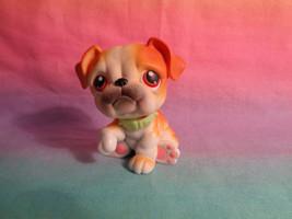 Hasbro Littlest Pet Shop Orange White Bulldog Puppy Dog Red Eyes #46 Pin... - $93,98 MXN