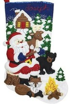 Bucilla Santas Black Bear Cabin Fox Christmas Holiday Felt Stocking Kit 86931E - $39.95