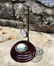 Vintage Classic Table Pendulum Clock Brass Magnetic Compass Antique Collectibles - $27.12