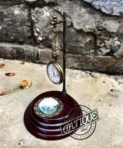 Vintage Classic Table Pendulum Clock Brass Magnetic Compass Antique Coll... - $27.12