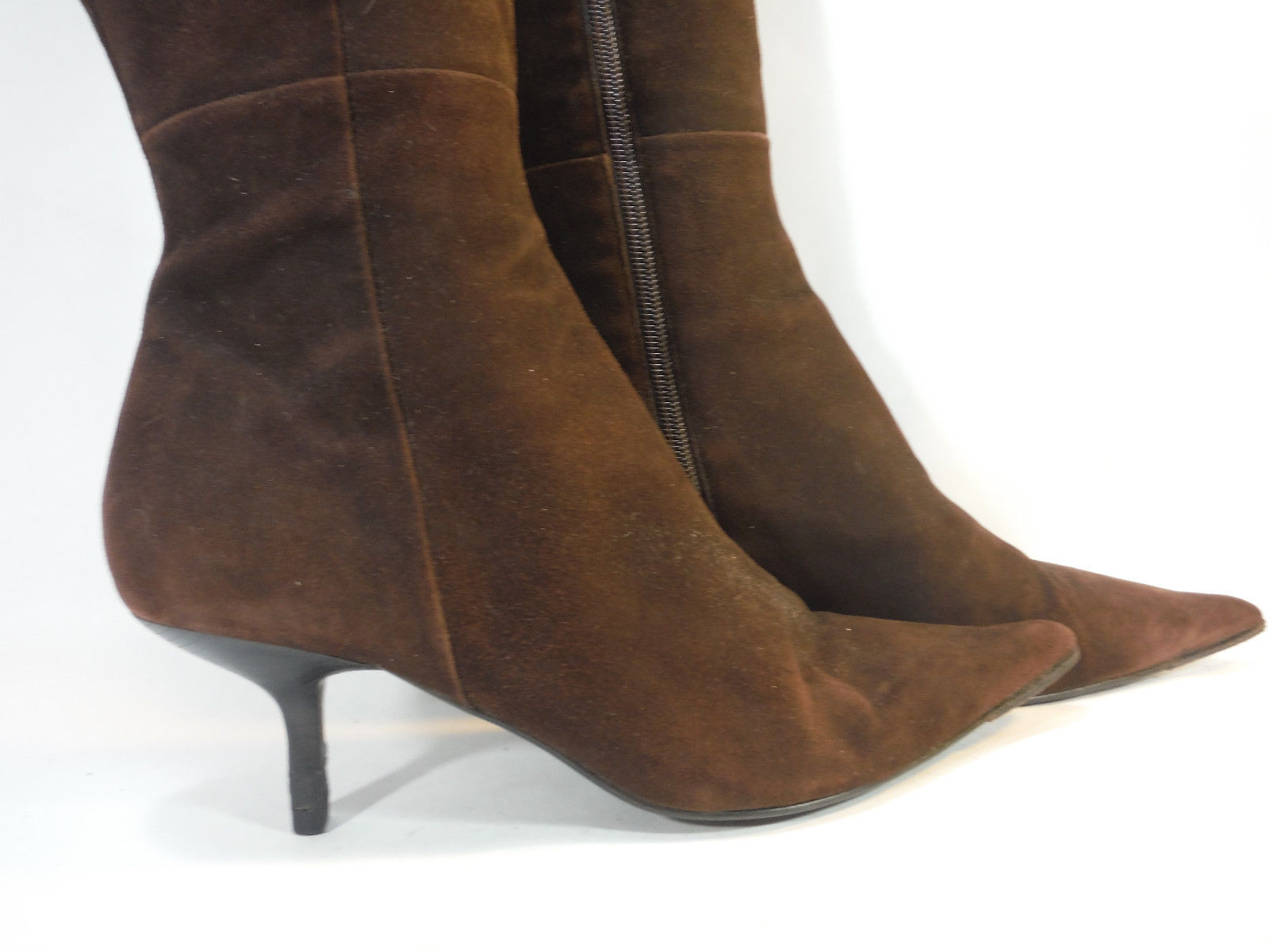 245146cb6 striking STEVE MADDEN grizzly brown suede pointy toe zip tall cuffed boots  8.5
