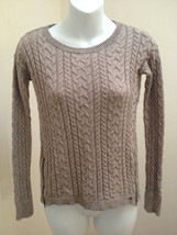 American Eagle XS Sweater Brown Cable Knit Zipper Detail Cotton Wool Blend Top - $13.70