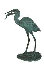 "Heron Fountain with Prey Bronze Statue -  Size: 14""L x 24""W x 26""H. - $720.00"