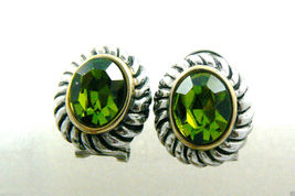 Silver tone Faceted Green Rhinestone crystal oval stud earrings $0 sh new image 3