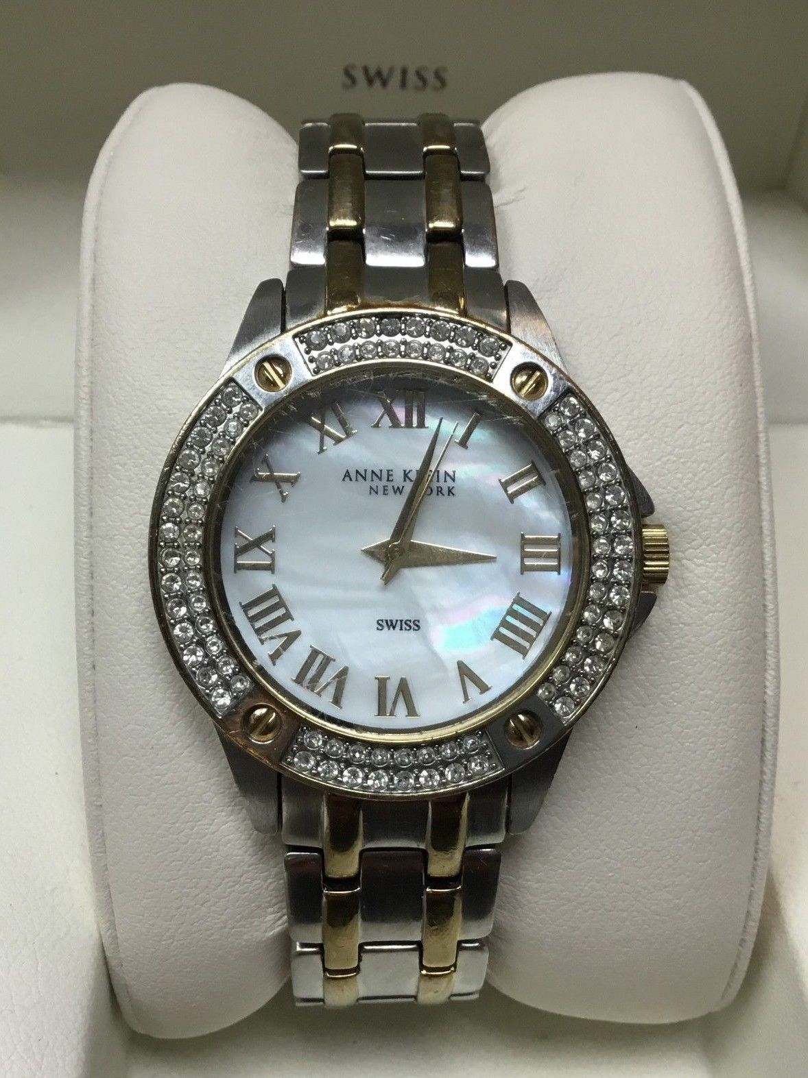 Primary image for Anne Klein 12/2261MPTT Women's 34mm Two Tone Crystal Accent MOP Dial Watch