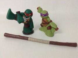 "Teenage Mutant Ninja Turtles 3.5"" Donnie Raph 2pc Lot Toy Figure Playmat... - $14.80"