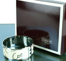 Authentic COACH Signature White & Silver Tone Metal Bangle Bracelet w/Bo... - $98.01