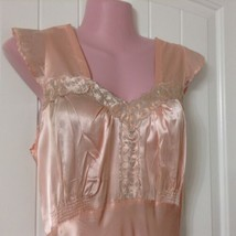Vtg 30s 40s Nightgown Women's 32 Peach Long Satin Bias Cut Taupe Embroid... - $98.99