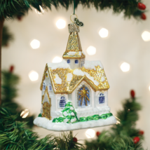 Old World Christmas Golden Cathedral Church Glass Christmas Ornament 20105 - $19.88