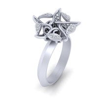 Round Cut 0.10cttw Diamond Starfish Engagement Ring For Her 925 Sterling Silver - $134.99