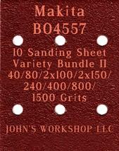 Makita BO4557 - 40/80/100/150/240/400/800/1500 Grit - 10 Sheet Variety B... - $12.46