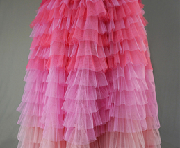 Pink Blush Nude Tiered Tulle Skirt Women High Waist Tiered Tulle Skirt Plus Size image 4