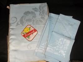 Vintage Damask Table Cloth Napkin Set Light Blue Made in Occupied Japan ... - $49.45