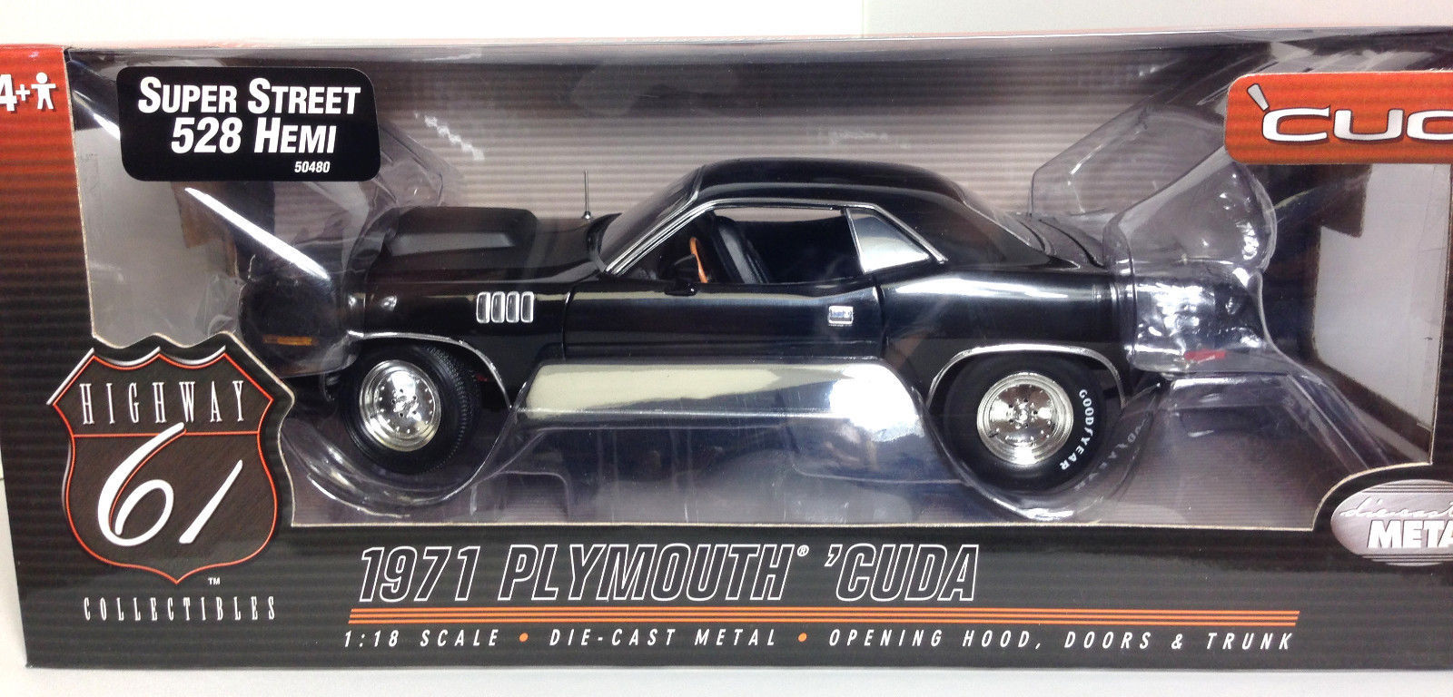 Highway Hwy 61 black 1971 Cuda Super Street 528 Hemi  DIECAST SCALE 1:18