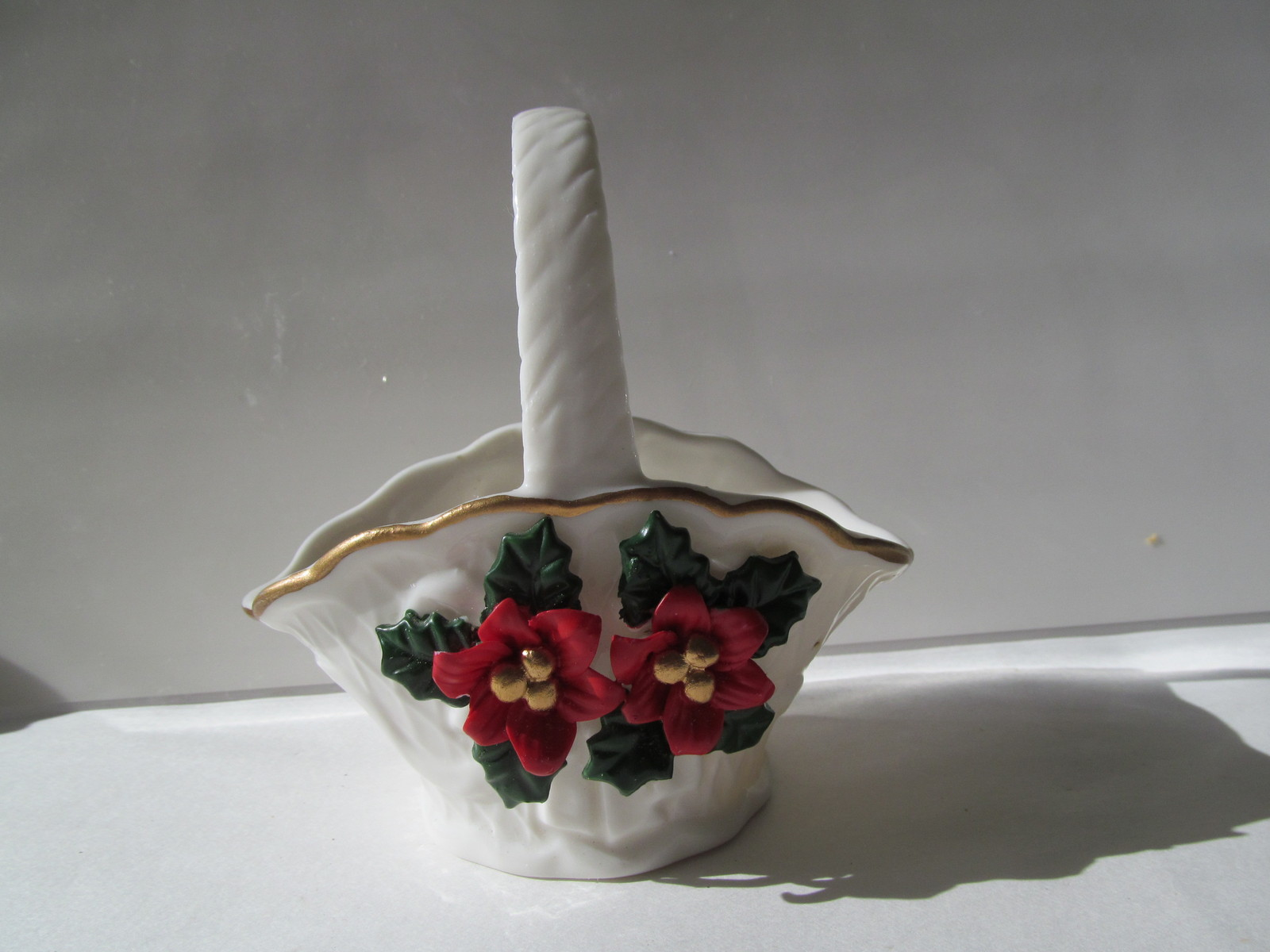 Primary image for Christmas Candy Dish / Basket White on White with Red & Green Holly - NEW!