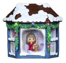 """Precious Moments, Girl and Puppy Watching Snowfall"""", Resin Music Box, Li... - $37.12"""