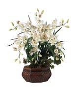 "Large White Cymbidium Orchid Silk Flower Arrangement/36"" Tall/Nearly Nat... - $178.15"