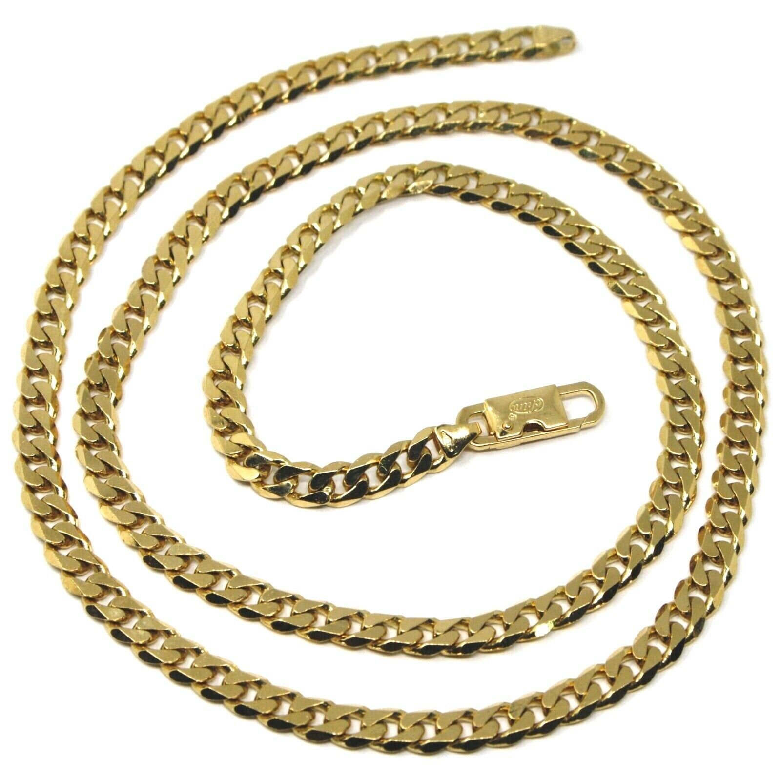 "MASSIVE 18K GOLD GOURMETTE CUBAN CURB FLAT CHAIN 5.5 MM 20"" NECKLACE ITALY MADE"