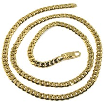 "MASSIVE 18K GOLD GOURMETTE CUBAN CURB FLAT CHAIN 5.5 MM 20"" NECKLACE ITALY MADE image 1"