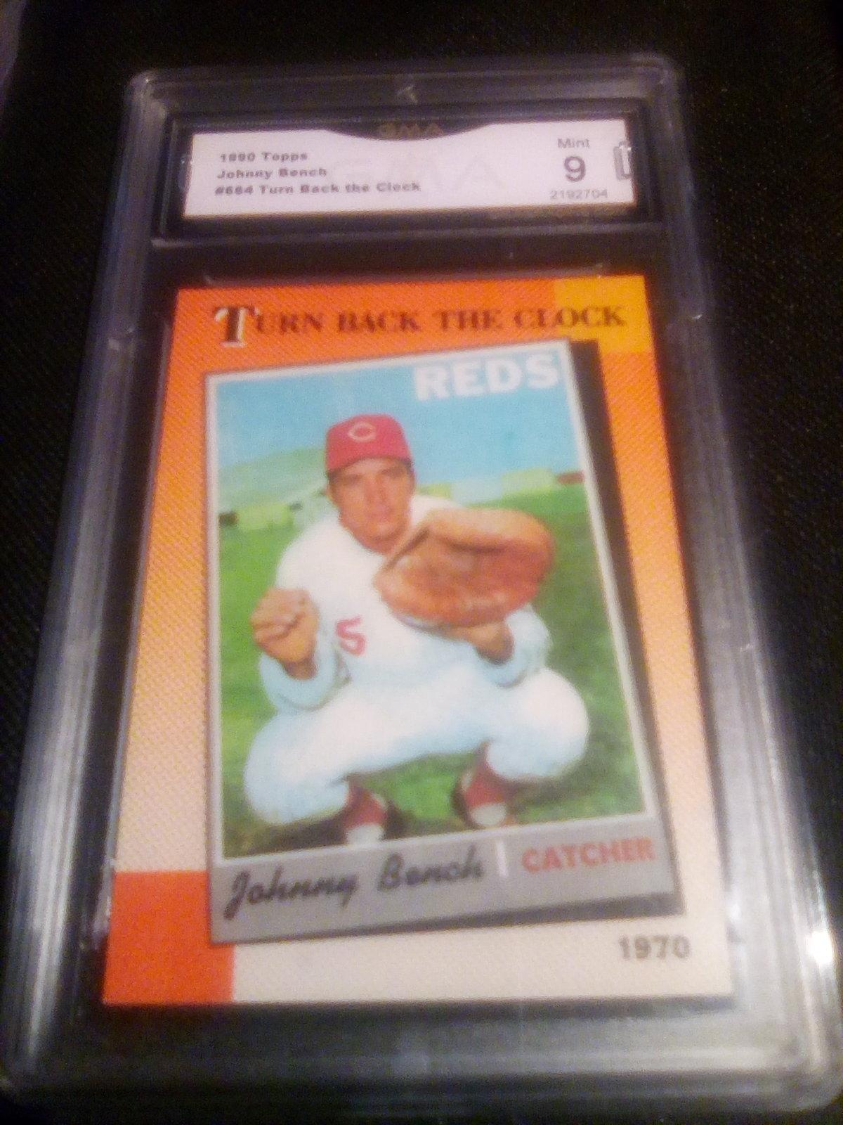1990 Topps Johnny Bench GMA Graded 9 Mint TBTC Baseball Card 664