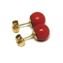 Yellow Gold Earrings 18K 750, Spheres Red Coral Diameter 8 MM image 1