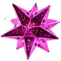 """Small 6.5"""" Hanging Tin Pink Fuchsia Mexican Moravian Star Ornament Decoration image 4"""