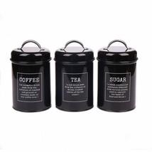 Hot Sale X021 Set of 3 Metal Food Storage Tin Canister/Jar with Lid black - $31.26