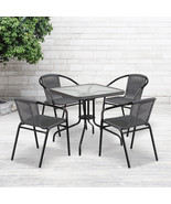 28'' Square Glass Metal Table,Gray Rattan Edging and 4 Gray Rattan Stack... - $190.96