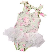 Cute Baby Girls Flower Beach Suit Lovely Swimsuit 1-2 Years Old(80-90cm)