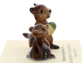 Hagen-Renaker Miniature Ceramic Figurine Chipmunk Holding Acorn with Baby Set image 4