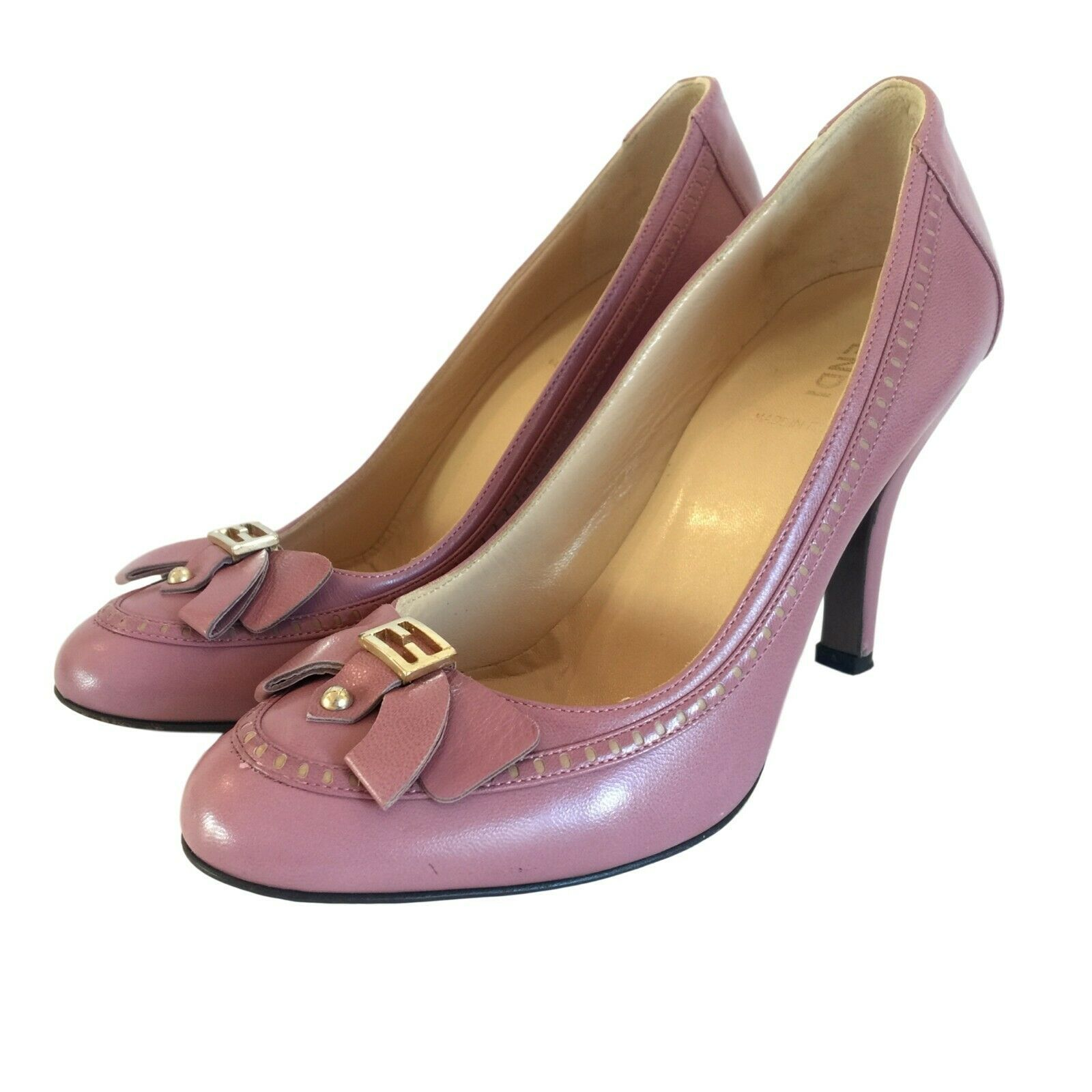FENDI Pink Leather Heels Pumps With Gold Hardware 36 / 6 Auth 100% - $99.00