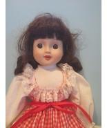 "16"" brown hair brown eyes red checkered dress musical porcelain doll - $18.93"