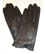 Ladies Fownes Genuine Leather Scallop Cuff Gloves, Black, Large - $20.78