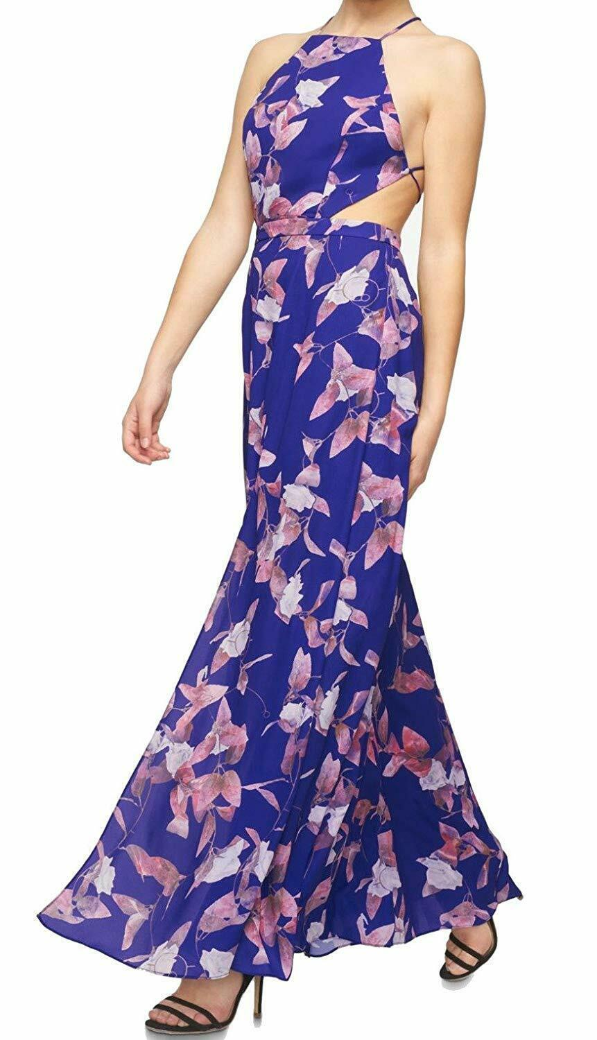 Fame And Partners Women'S Printed Halter Dress With Thigh-High Slit, Midnight Pe